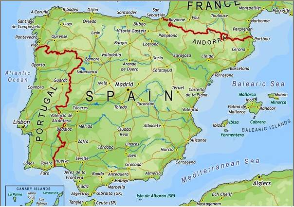 Map South Of Spain.Map Of Spain And Costa Blanca Area